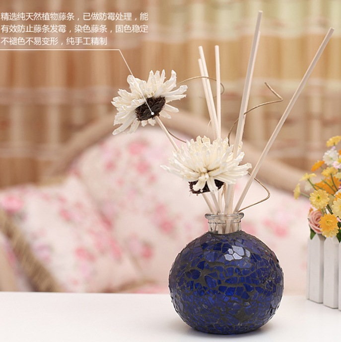 No fire aromatherapy suits Deep blue glass bottles of incense Reed Diffuser Catalytic Burner Diffuser Aromatherapy(China (Mainland))