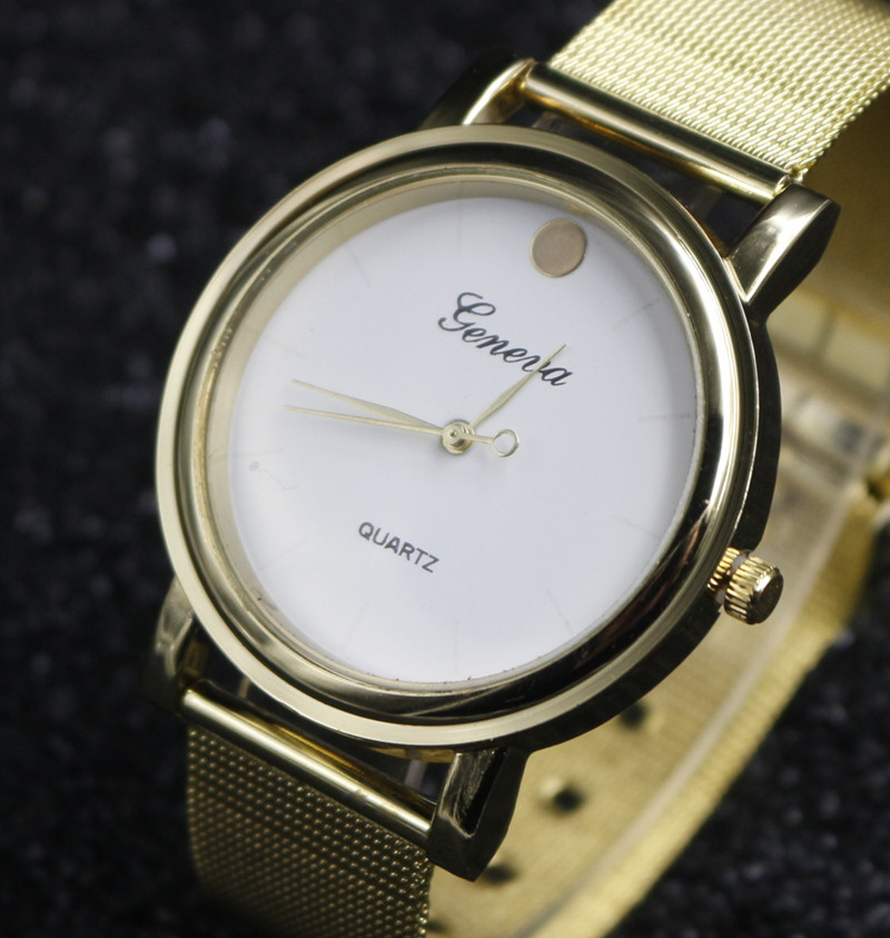 Fashion Casual Luxury Geneva Gold watches Women's Stainless Steel Band