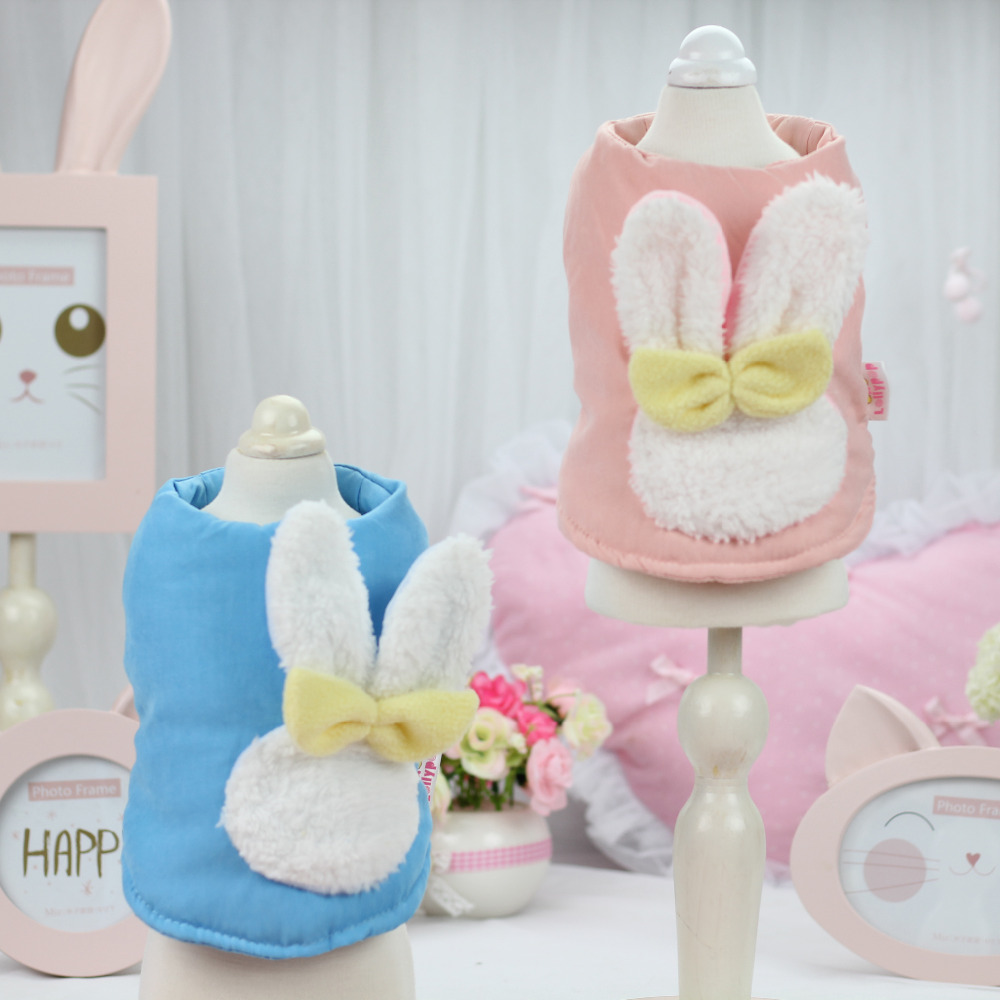 Dog Clothes Jacket Adorable Rabbit Warm Winter Dog Coat Apparel Costumes Pink And Blue XS S M L XL(China (Mainland))
