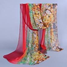 Free Shipping Wholesale 2014 New Products Hot Selling Chiffon Flower Long Soft Silk Rayon Scarf Wrap Shawl Stole For Women(China (Mainland))