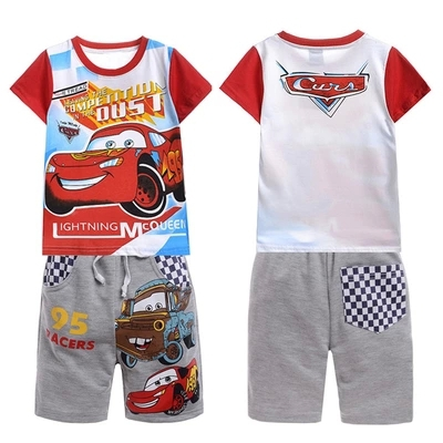 Retail 2016 new Children summer clothing set Boys CAR machine sport suit kids casual set short sleeve T-shirt and middle pants(China (Mainland))
