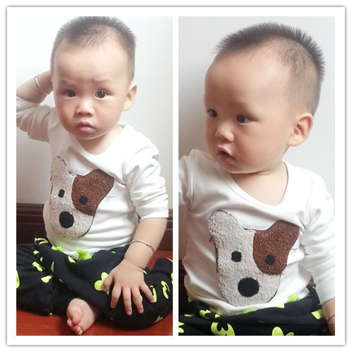 Autumn baby 2013 100% T-shirt baby cotton long-sleeve t-shirt three-dimensional embroidered towel