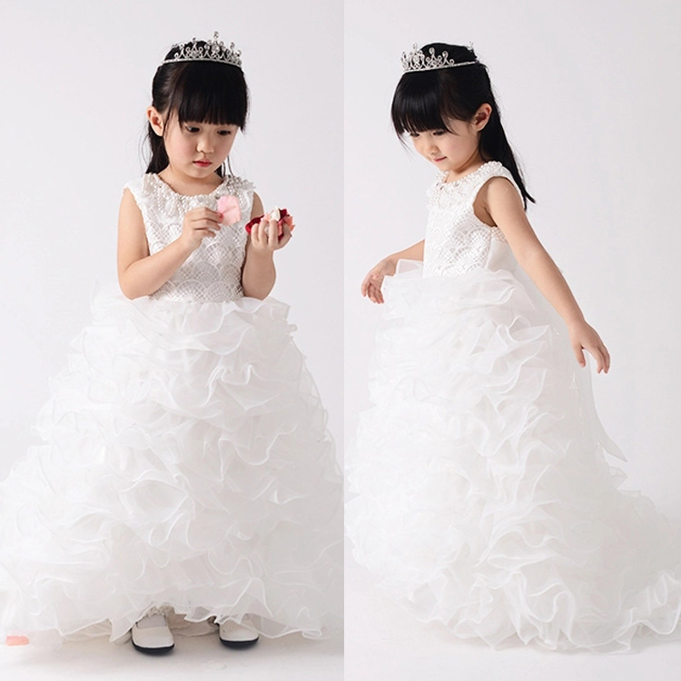 The new original single girls dress princess dress tutu dress children dress flower girl trailing factory outlets(China (Mainland))