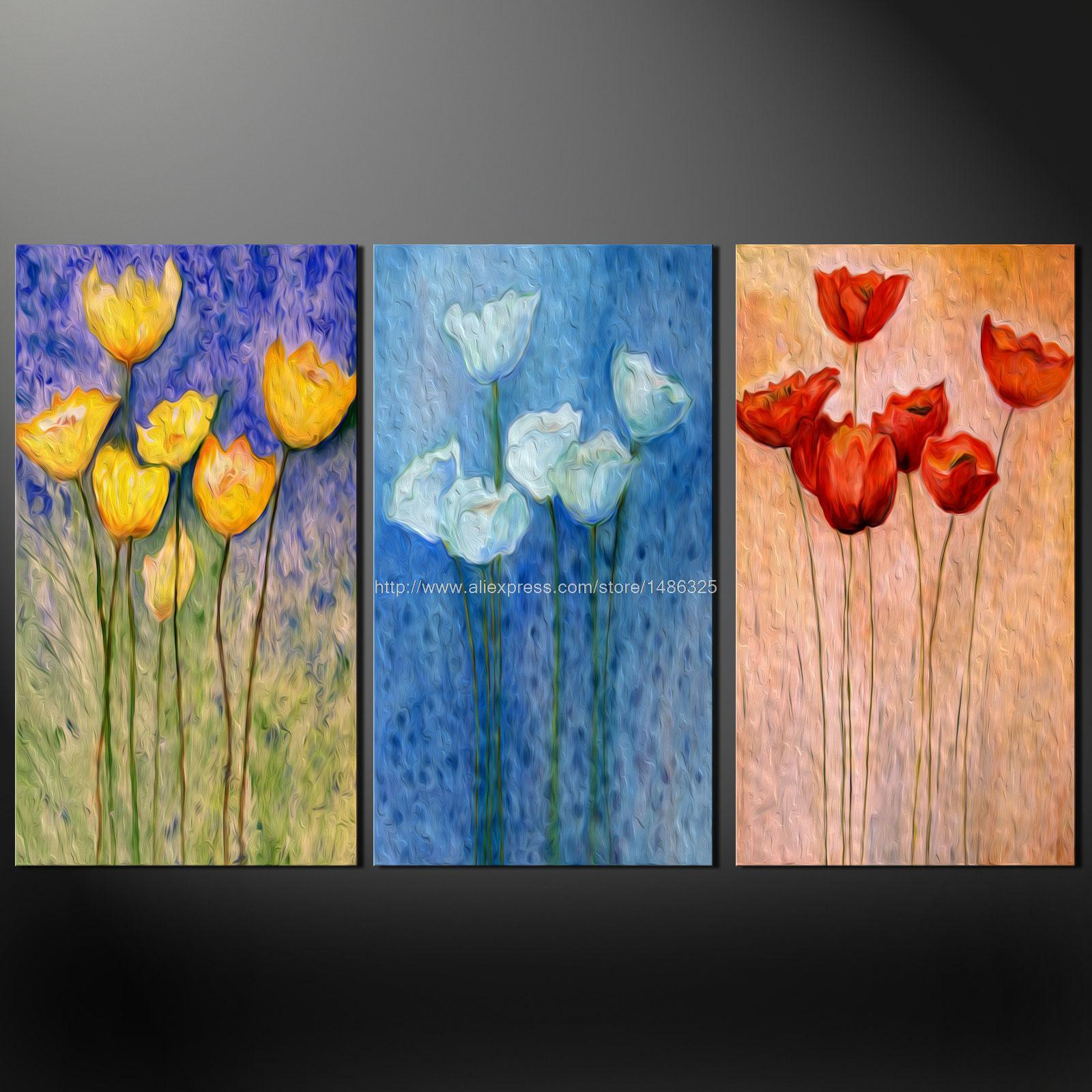 Poppies set of three quality canvas s picture wall art oil for Set of three canvas paintings