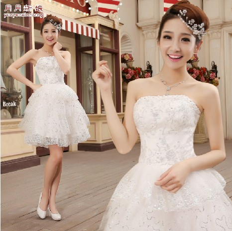 adult little girl brides maid short dresses of party fancy ivory bridesmaid convertible dress ball gowns free shipping B971(China (Mainland))