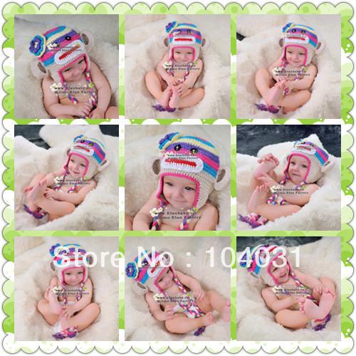 crochet acrylic baby hat knitting children's winter hat patterns(China (Mainland))