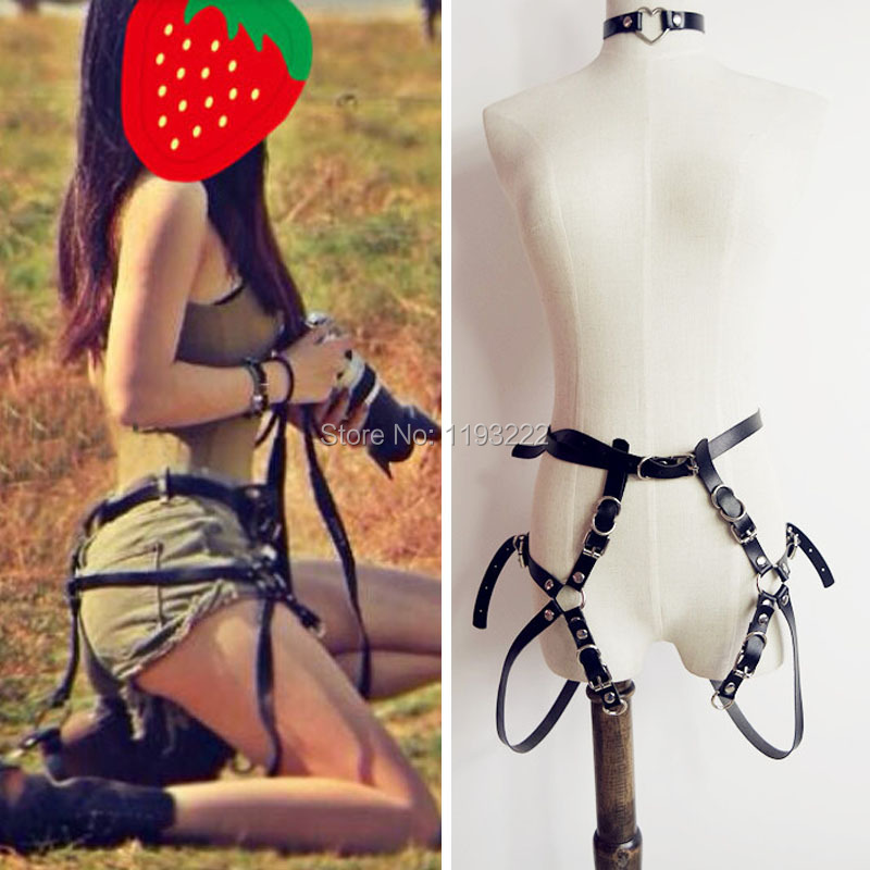 Lolita Cool Fashion Sporting Real Lether Harness Body Bondage Cage Waist Belt Cinchers