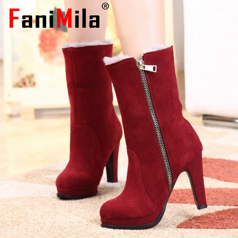 Free shipping half ankle short natrual real genuine leather high heel boots women snow warm shoes CooLcept R4493 EUR size 34-40<br><br>Aliexpress