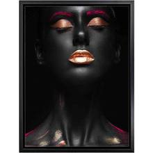 Modern Gold Lips Black Figure Poster Print Makeup Wall Sexy Art Oil Painting on Canvas Picture Living Room Creative Home Decor(China)