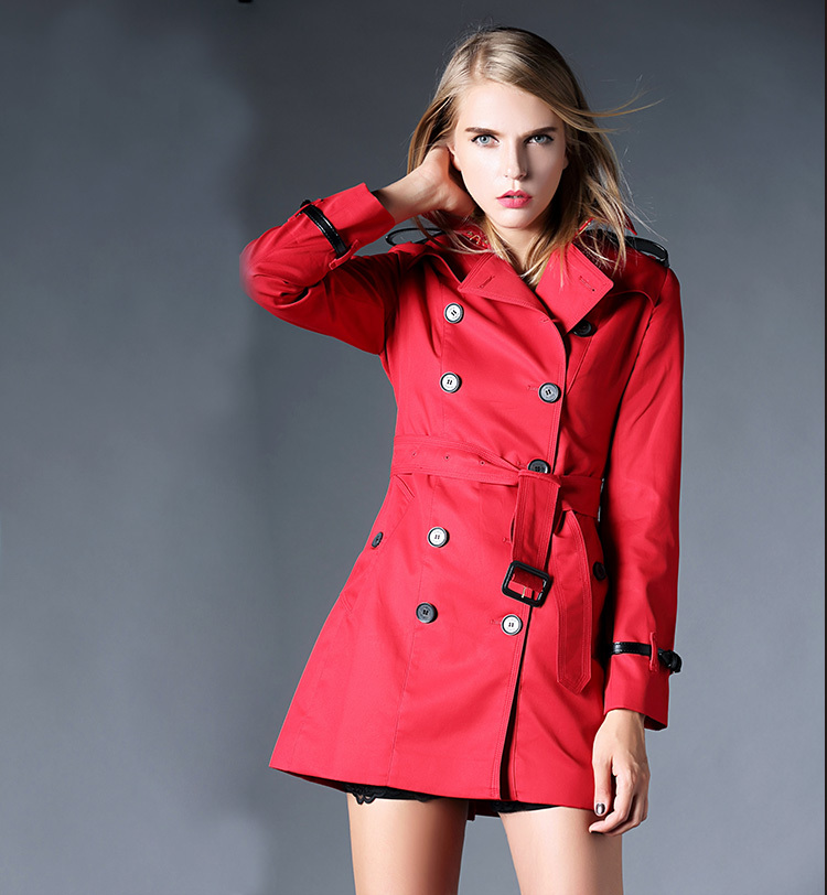Hot Classic 2015 Women Fashion British Long Style Elegant Trench Coat/Designer Belted Double Breasted Trench size S-2XL#B139