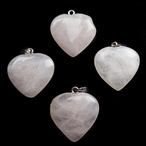 4pcs/pack Wonderful Rose Quartz Heart pendant bead(China (Mainland))