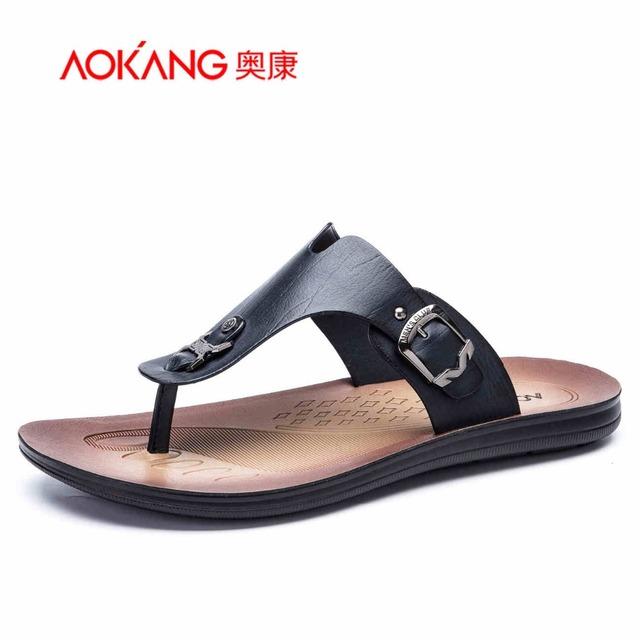 Aokang 2016 новый летний мужчин босоножки стиль кожаные сандалии мужской обуви свободного ...