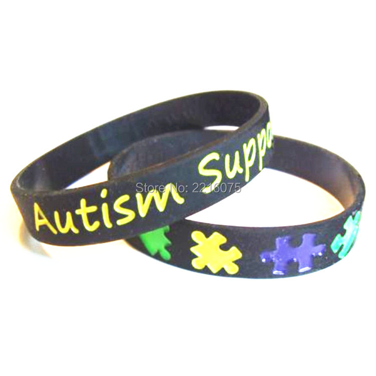 300pcs debossed logo autism support medical alert wristband silicone bracelets free shipping by dhl express - Support Our Troops Silicone Bracelet