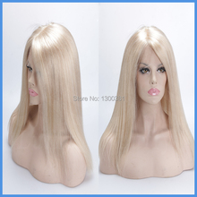 Virgin Brazilian Silky Straight Glueless full lace human hair wigs pure blonde color #60 long full lace wig for white women(China (Mainland))