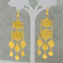Gold Coin Earrings Wome 18k Gold Plated Filled Fashion Jewelry Woman,Long Earring Coins Symbol of Wealth,Wholesale Can Discount(China (Mainland))
