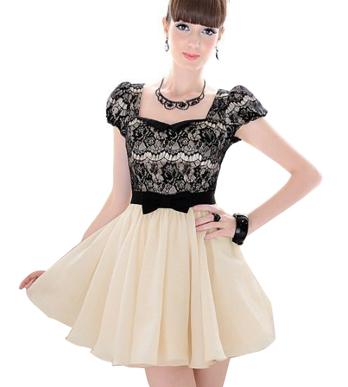 Nice quality & Promotion for 30 days!!! Fashion womens dress beige vintage dress with lace and short sleeves, size S, M, L, XL(China (Mainland))