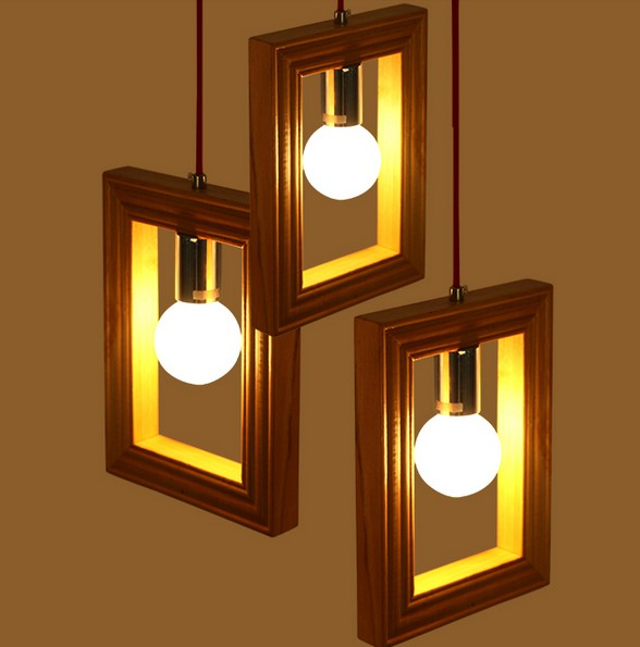 Фотография American Village Creative Wooden Frame Droplight Modern LED Pendant Light Fixtures For Dining Room Hanging Lamp Indoor Lighting