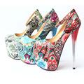 High Heel Stiletto Heel Pump Women Flora Club Pumps Ethnic High Platform Heel Shoes Ladies Printing