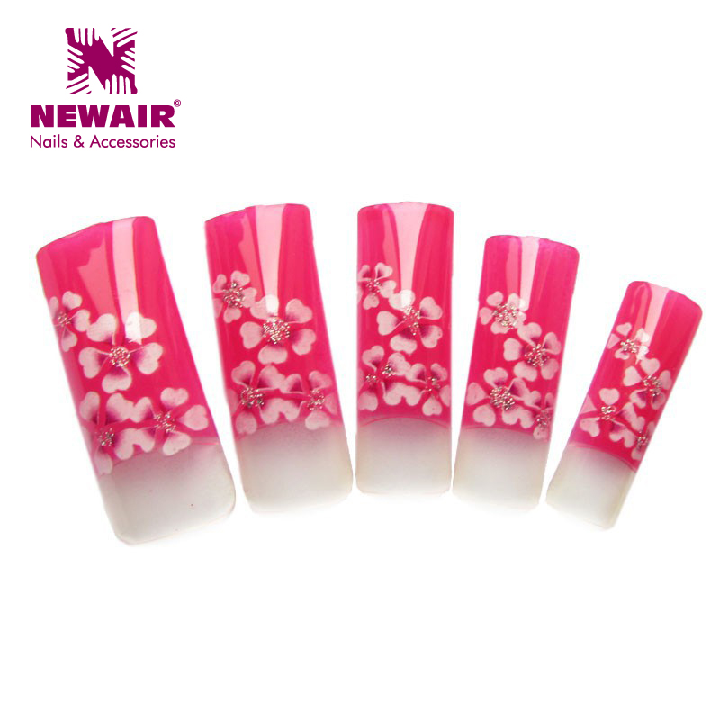 New Arrival 70x Elegant Series Colorful Red Plum Pattern Pre Design Airbrush Nail Tips Designer Acrylic Nail Art Tips wholesales(China (Mainland))