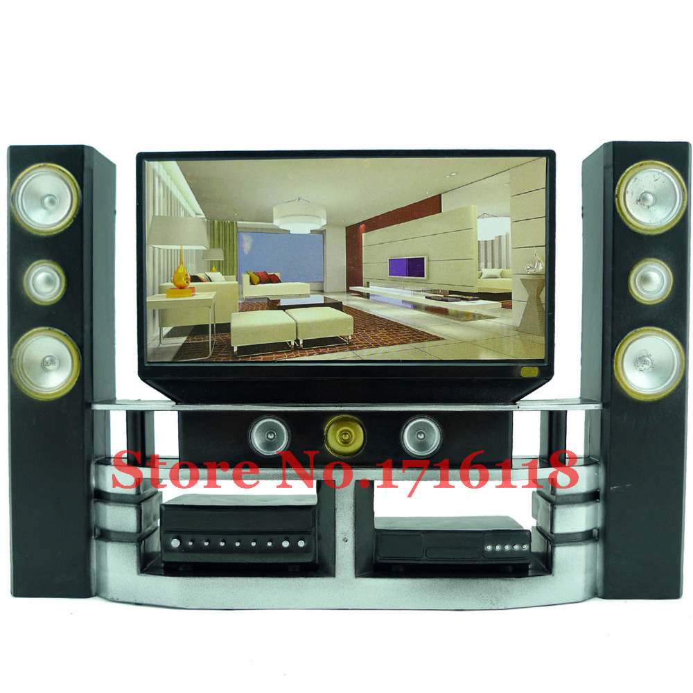 Free Shipping Mini Hi-Fi 1:6 TV Home Theater Cabinet Set Combo for Barbie Dolls Accessories House Dollhouse Furniture Baby Toys(China (Mainland))