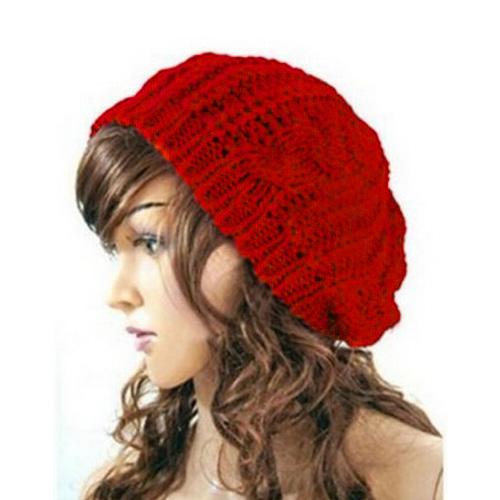 Promotion! New Women Baggy Beret Chunky Knit Knitted Braided Beanie Hat Ski Cap Red<br><br>Aliexpress