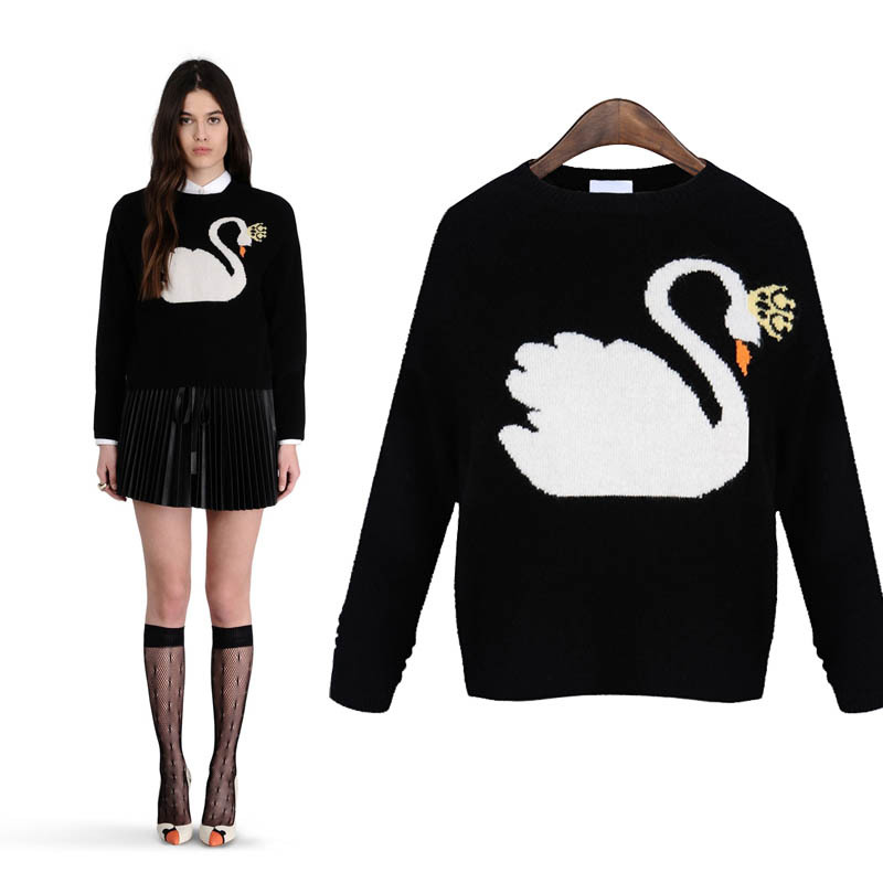 ChicSeller Black Long Sleeve Sweater Swan Winter For Womens Plus Size Girls Knit Maxi Cardigan Sweater(China (Mainland))