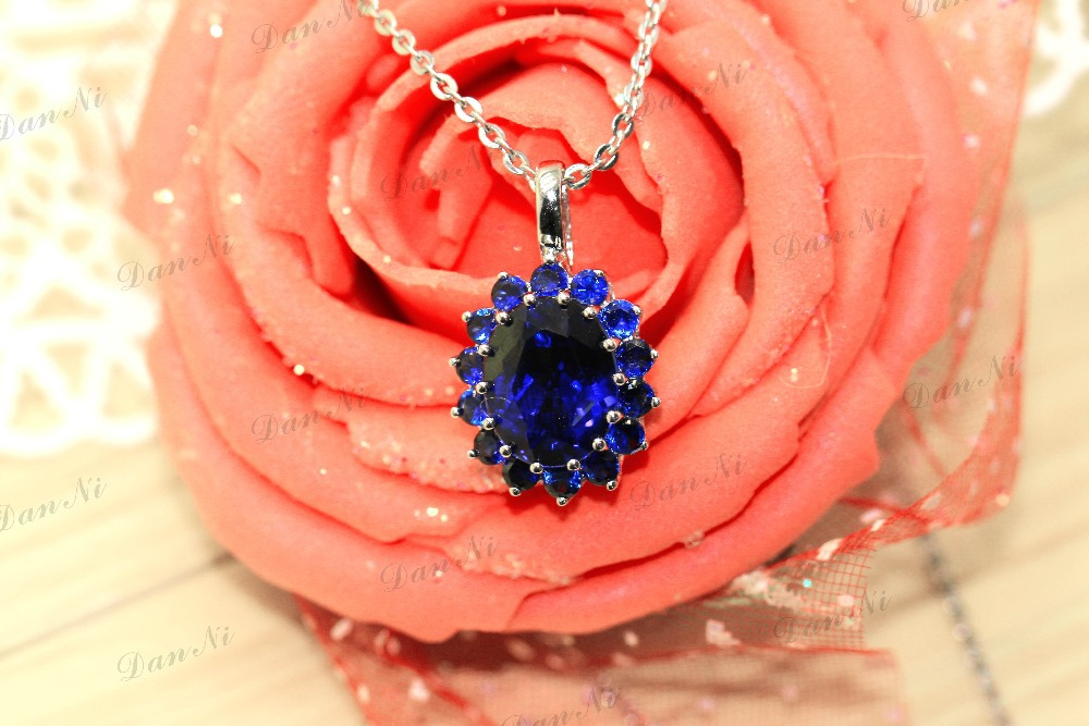 Royal design flower Wedding engagement Pendant Sapphire 4.5carat Silver Pendant & Necklace the best gift for friend girl(China (Mainland))