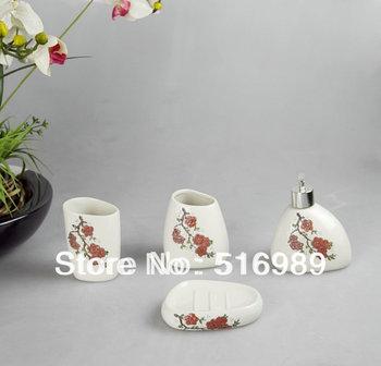 Free Shipping Modern Design 4pcs Ceramic Bathroom Accessory Set Beautifull Flower A-188