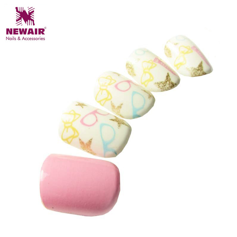2016 New element ABS False Nails Candy Color Bright Tips Design Printing Nail Tips High Quality Neon Short Design Fake Nail(China (Mainland))