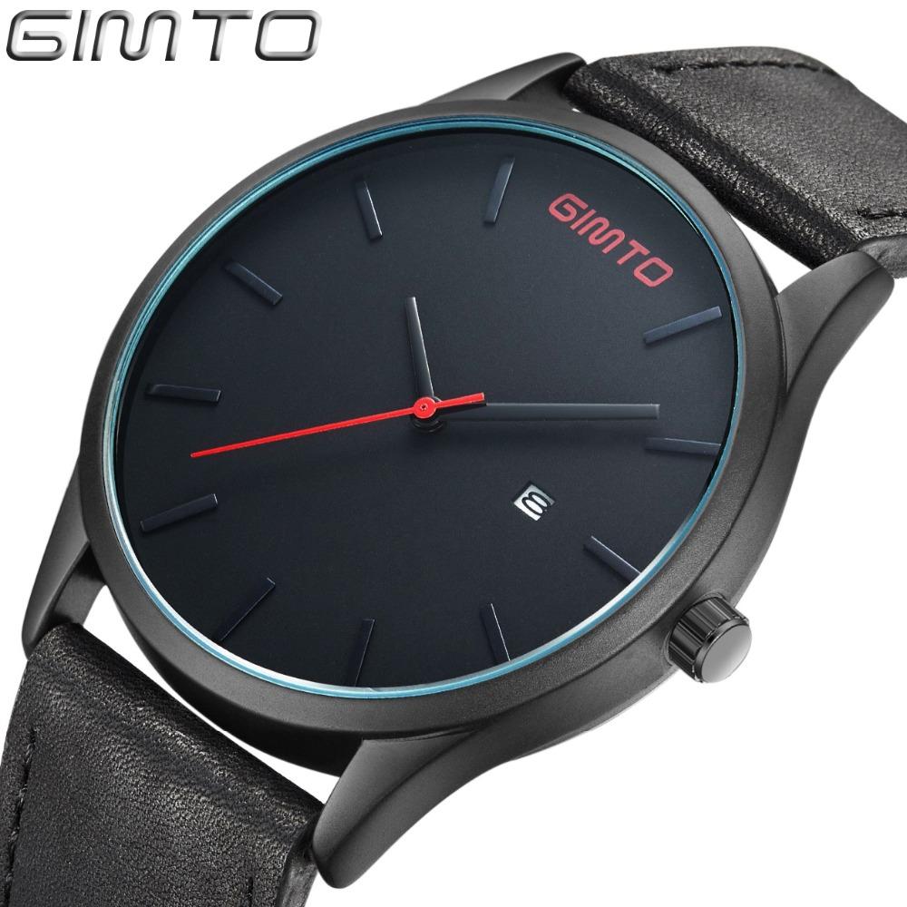 GIMTO NEW Luxury Brand Simple Quartz Sport Watches Men Military Casual Leather Fashion Watch Men's Waterproof Relogio Masculino(China (Mainland))