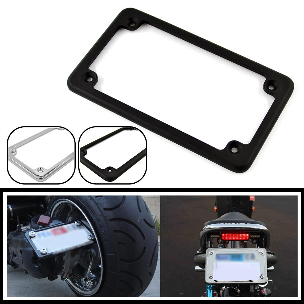 Aluminum License Plate Frame >> LPL294-001-BK-Universal-4-X-7-Aluminum-Motorcycle-Number ...