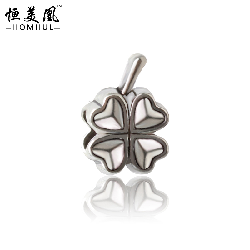 Free Shipping 925 Silver Clover DIY Bead big hole European Beads Fits Silver Charm pandora Bracelets necklaces pendants 860