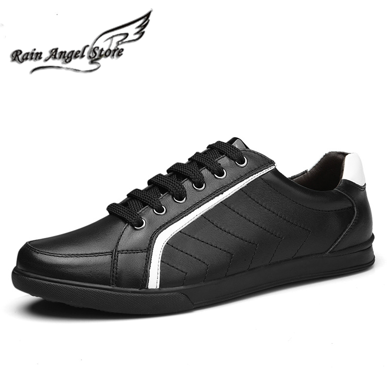 Plus Size 45 46 47 Four Seasons Mens Casual Shoes Breathable Soft Leather Flat Low Top Lace-up Flats Zapatos Hombre