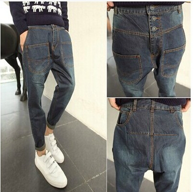 asap rocky boys new ktz drop crotch pants slim fit baggy skinny winter harem pant denim biker jeans men hiphop big low-rise jean(China (Mainland))