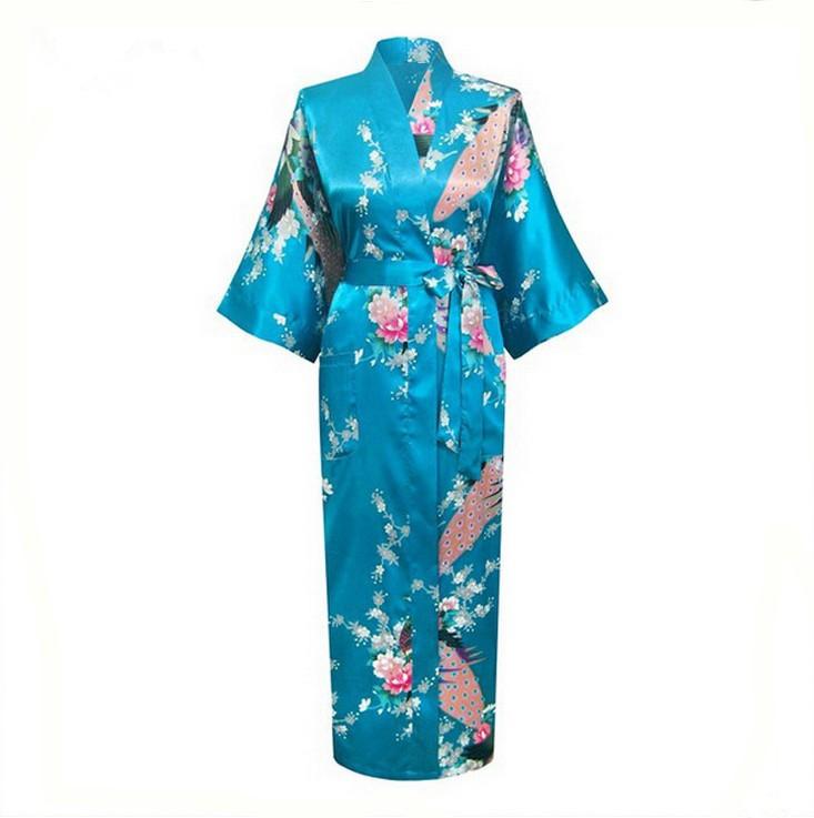 Синий новый шелковый кимоно женщины долго сексуальные халат невесты выращенных одеяния лето гостиная пижамы Большой размер RB003