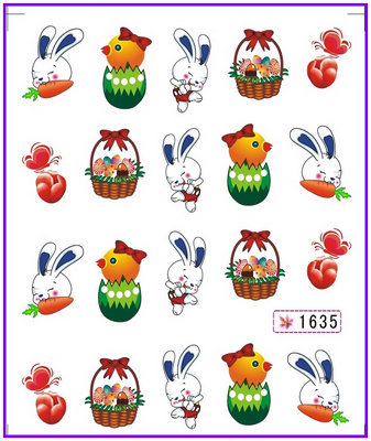 6 PACK/ LOT GLITTER WATER DECAL NAIL ART NAIL STICKER RABBIT EASTER EGG CHICK SY1635-1640(China (Mainland))