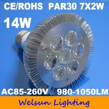 100pcs/pack High Power 7*2W 14W Cool White PAR30 flood light Lamp Bulb Light Energy-saving-1
