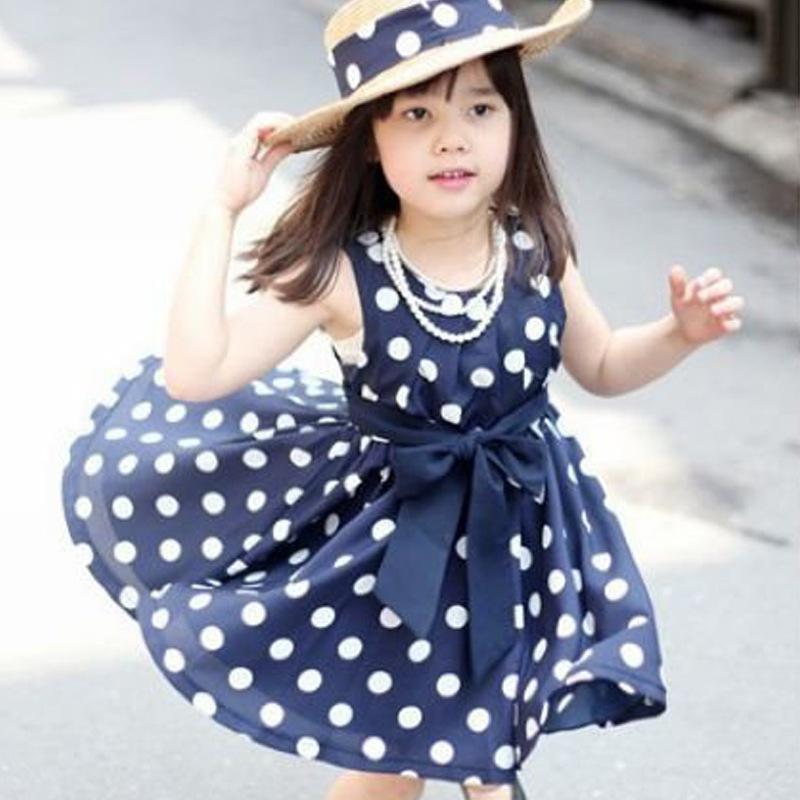 Meninas Free Shipping Stylish Kids Toddler Girls Clothing Polka Dots Buttons Princess Dress Ages girls princess dress(China (Mainland))
