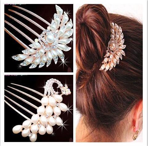 New Design Fashion Wedding Bridal Crystal Rhinestone Flower Faux Pearls Hairpins Diamante Hair Clip Comb Jewelry(China (Mainland))