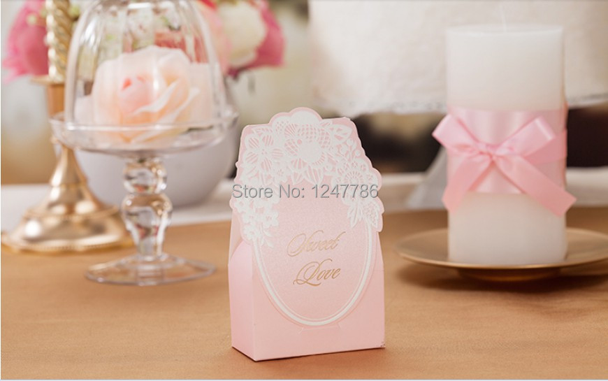 100 pcs/lot New arrival Free shipping wedding supplies candy box pink white lace high quality Europe style(China (Mainland))