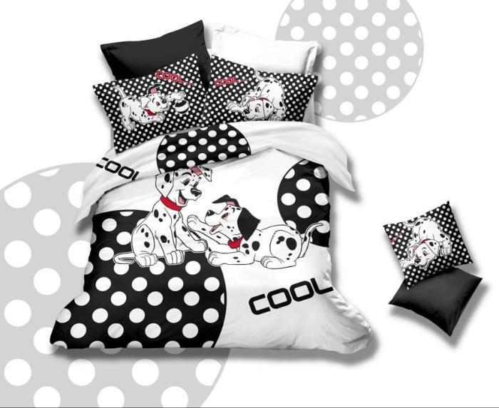 Black And White Polka Dot Dog Bedding Set Queen Size