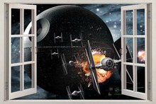 Star Wars DEATH STAR 3D Window View Decal WALL STICKER Home Decor Art Mural Wall Stickers 5 Sizes
