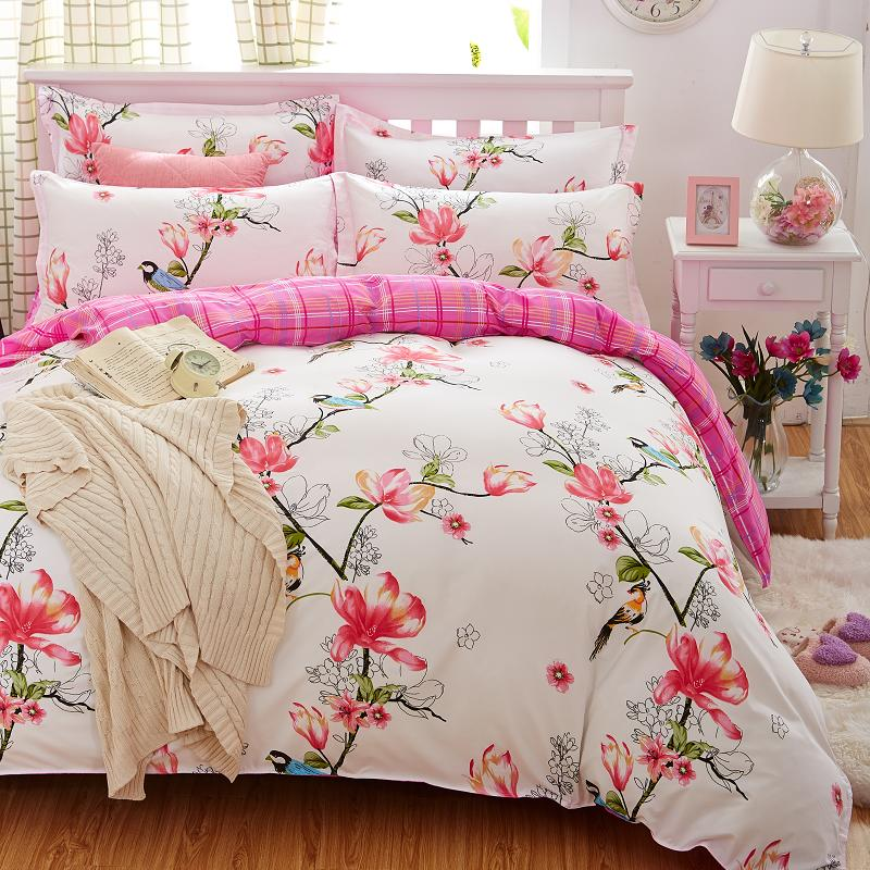Plaid Bedding Set 4pcs polyester Cotton Duvet Cover Bed Sheet 2pcs Pillowcases Bedroom Textile Bed Linen Queen Kids Bed Set(China (Mainland))