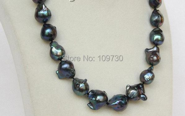 Jewelr 00375 17.5 20mm Baroque black Reborn keshi pearls necklace<br><br>Aliexpress