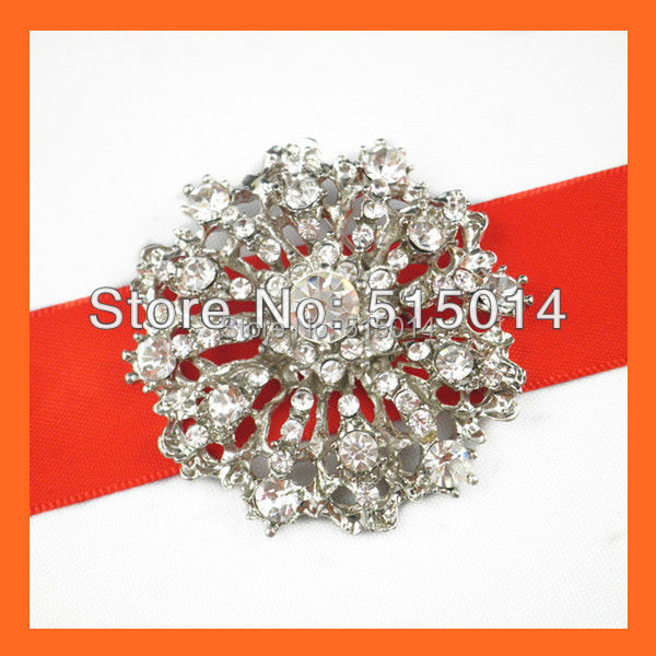 Free Shipping ! 100pcs/lot 40mm Wedding Bridal Brooch Pin ,Rhinestone Brooches For Invitation Card,Bouquet Pins,