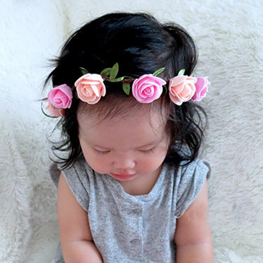 Fashion Girls Flower Headband DIY Rose Hair Band Baby Girl Head Wrap Band Baby Hair Accessories Couronne De Fleurs(China (Mainland))