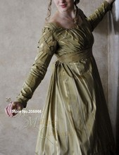 CUSTOM Olive Green Jane Austen Style Regency Gown Dress with long sleeves and lattice work/Theater /Holiday dress