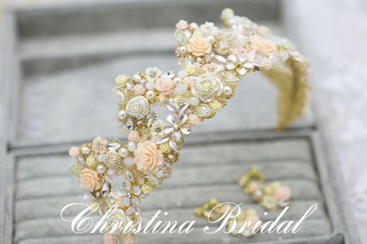 Высокое Качество Старинные Керамические Цветок Жемчуг Стразы Кристалл Свадьба Корона Свадебные Аксессуары Для Волос