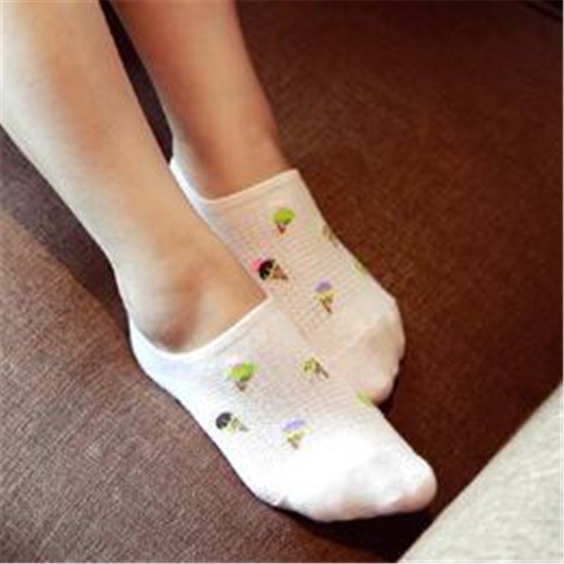 A Pair Cotton Women's Sock Ped Casual Fashion Ice Cream Calcetines Simple Invisible Socks Slippers No Show Ped For Women