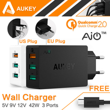 AUKEY Quick Charge 2.0 3 Port USB Wall Charger For iPhone 7 Plus 6 6s Samsung Note7 Xiaomi EU/US Plug Smart Fast Mobile Charger(China (Mainland))